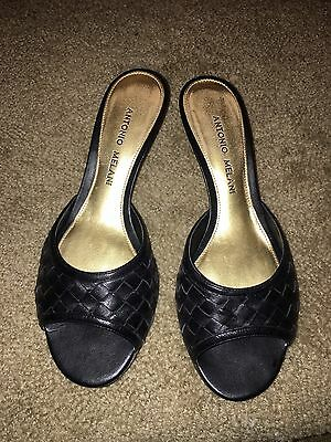 Antonio Melani Women's Black Leather Open Toe Heels Sz 6.5 M