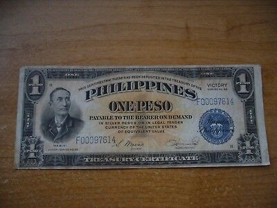 1944 US Philippines $1 One Peso Treasury Certificate Series 66     4 available