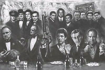 GODFATHER SCARFACE  SOPRANOS GOODFELLAS gangsters poster print 24 x 36