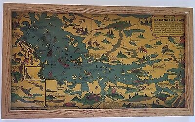 Vintage 1936 Lake Kabetogama Minnesota Map Framed