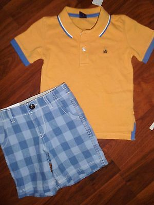 2 T BABY GAP 2pc POLO Shirt Denim Jean Shorts Outfit Toddler KIDS Boy Outfit NWT