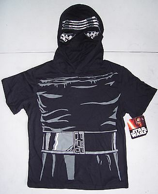 NWT Boys Star Wars Short Sleeve Shirt With Masked Hood Kylo Ren costume