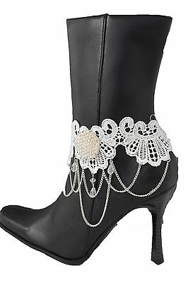 Fun Women Silver Chain Boot Bracelet Anklet White Lace Fabric Flower Charm Beads
