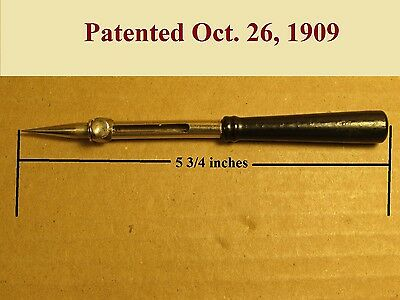 Antique adjustable sewing awl with wooden handle patent October 26 1909