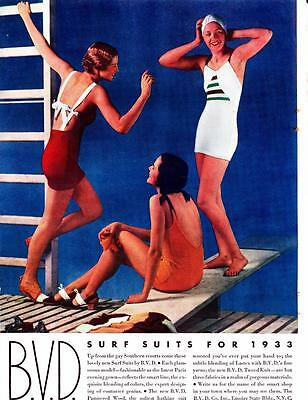 Vintage Swimsuit ad 1933 BVD Surf Suits Color Pin Up