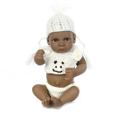 "11"" Handmade Lifelike Full Body Silicone Reborn Baby Dolls Black Boy Doll Toy"