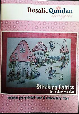 Stitching Fairies Embroidery Stitchery Pattern Pre-Printed Linen & Threads