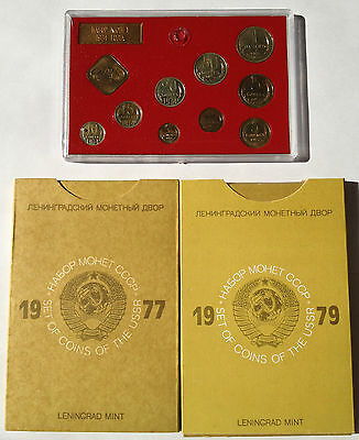 1974 1977 1979 USSR Soviet Russia Leningrad Proof Mint Coin Sets MS15 MS18 MS20