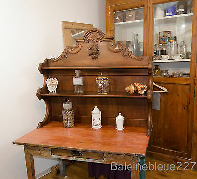 French Antique Apothecary Pharmacy Shelves Carved Solid Walnut Restaurant Bistro