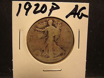 1920P 90% Silver About Good Condition Walking Liberty Half Dollar No Defects