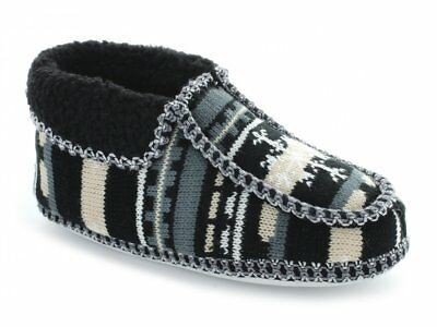 Womens Ladies Warm Winter Fleece Lined Comfy Nordic Ankle Bootie Slippers Black