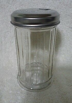 Glass Sugar Shaker-Cofee Sugar Pourer Fluted Glass W/secure Metal Lid