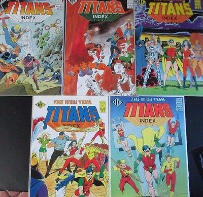 OFFICIAL TEEN TITANS INDEX #1-5 (NM-) Full Set! 1985 DC ROBIN! KID FLASH!