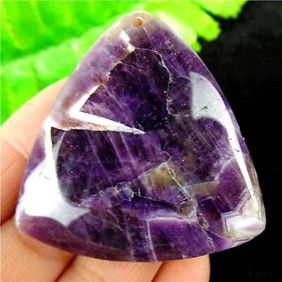 Natural Amethyst Triangle Pendant Bead 46x43x7mm H75P10183