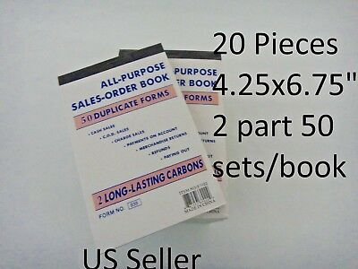 20X- 2 part Sales Order Books Carbonless Invoice Book Receipt Form 50 sets USA