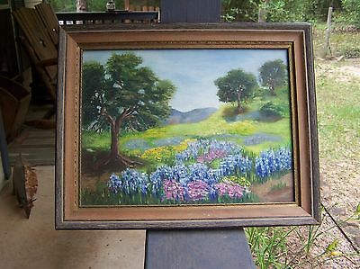 Framed Oil Painting of Landscape Trees Flowers Field signed H Stribling 1964
