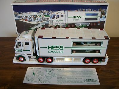 2003 Lighted Hess Toy Truck And Two Pull-Back Race Cars With Original Box