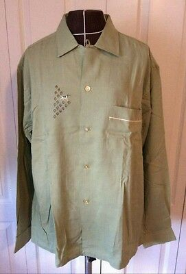 Men's Vintage 50's Rayon Gab Shirt Embroidered Dog Diamond Palm Springs M/L