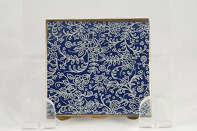 Vtg Stratton Compact Blue Enamel Floral Gold Tone Small