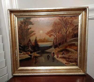 Lovely Early 20th C. American Folk Art 'Evening Outing' Landscape  Oil Painting