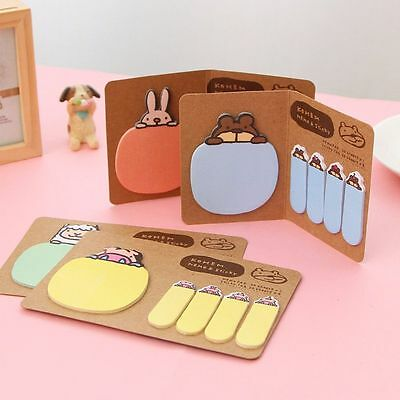 Cute Animal Rabbit Sticker Bookmark Marker Memo Index Tab Sticky Notes 4 Colors