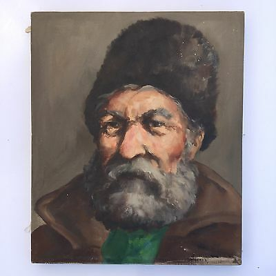 "Vintage Russia Oil Painting Portrait of a Russian Man 12"" x 10"" Signed"