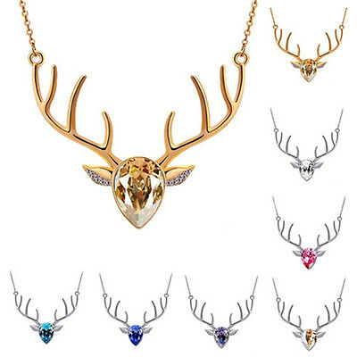 Charm Antlers Deer Head Elk Reindeer Chain Crystal Pendant Necklace Jewelry Gift