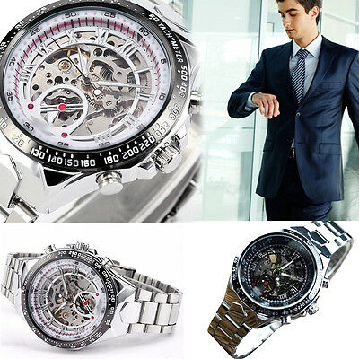 Fashion Men Skeleton Automatic Mechanical Silver Stainless Steel Wrist Watch