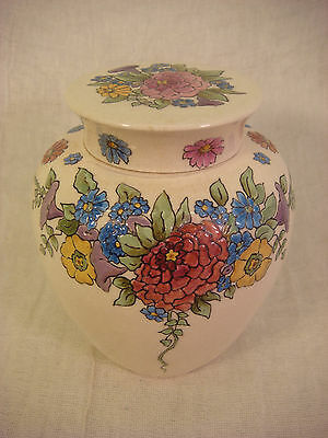 Antique Pottery Ginger Jar With Raised Painted Flowers And Lid Signed Imo 1918