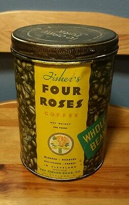Vintage Fisher's Four Roses Coffee Whole Bean One Pound Tin Can Cleveland, Ohio