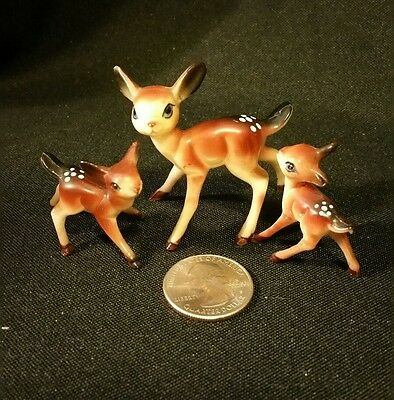 Vintage Miniature Hard Plastic Bambi Deer Family Anthropomorpic ~ Fairy Garden!