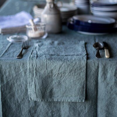 Francalia linen napkin in Soft green, White