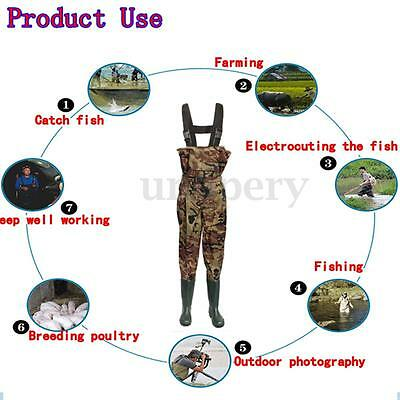 UK Size 6,7,8,9,10,11,12 Waterproof Camo Nylon Chest Waders & Belt for Fishing