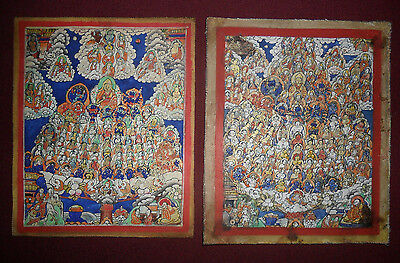 Antique buddhist 2 thangka painting rare old