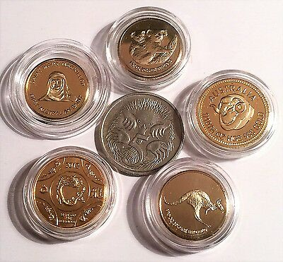 "Set of 5 x 1 Gram ""Australiana"" Mini Coins 999 24K Gold Plated In Capsules (C)"