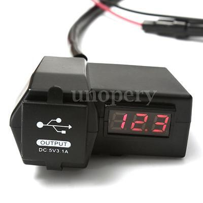 12-24V Dual 2 USB Port Charger + Digital LED Voltmeter For Car Boat Motorcycle