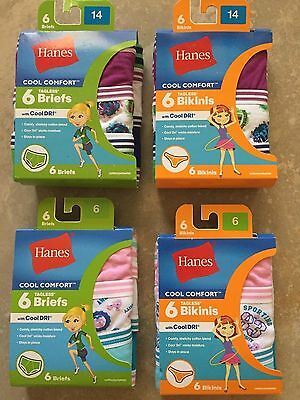 Girls Hanes Cool Comfort 6 pack of Underwear Sizes 4,6,10,12,14,16 NWT New