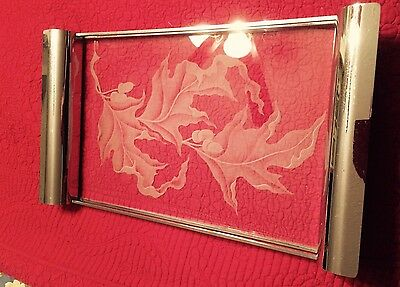 1930's vintage Art Deco chrome metal & Etched glass cocktail tray
