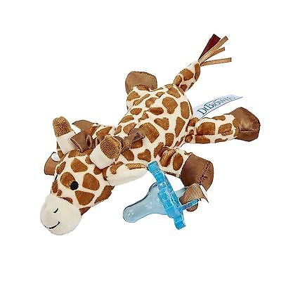 Dr. Pacifiers Browns Lovey Pacifier and Teether Holder, 0m+, Giraffe with Blue