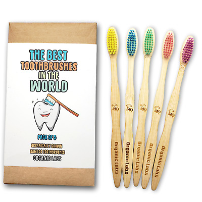 Organic Labs - Natural Bamboo Toothbrush BPA Free Bristles, Pack of 5