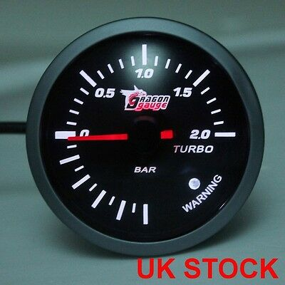 60mm White LED Pointer Meter Turbo stepping Boost Vacuum Gauge 12V New