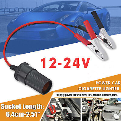 12V Auxiliary Socket Cigarette Lighter Adapter + Crocodile Leisure Battery Clips