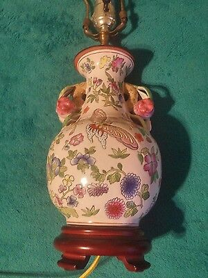 ANTIQUE Hand Painted CHINESE ASIAN ORIENTAL GINGER JAR URN FLORAL FLOWERS LAMP
