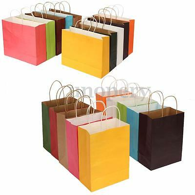 10 Color S M L XL 4 Size Kraft Paper Bags + Handle Birthday Christmas Souvenir