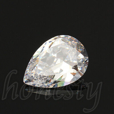 2PCS 13x18MM Attractive White Sapphire Pear Cut Lustrous Loose Gemstone Gem