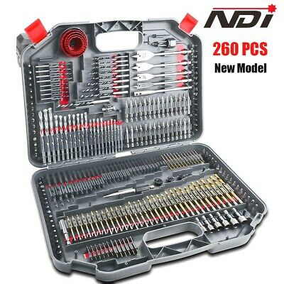 199Pc Combination Metric Titanium Drill Bit Wood Metal Masonry Set+ Case Nd-1005