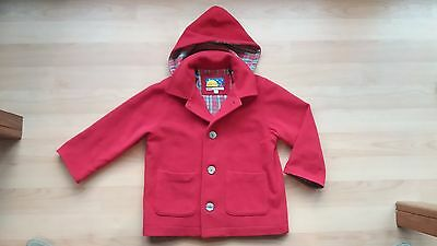 Red Wool Boys or Girls Coat Jacket With Zip Off Hood Size 3 Great Condition