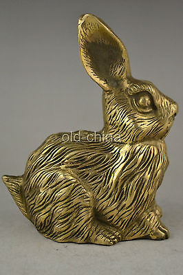 china collectible decorate old handwork copper carve animal rabbit king statue
