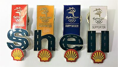 Shell Supporter Full Set Of 4 Sydney  Olympic Games 2000 Pin Collect #906