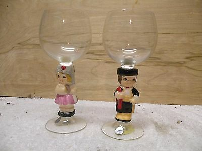 Goebel West Germany Set Of 2 Wine Glasses With Boy And Girl  Figurine